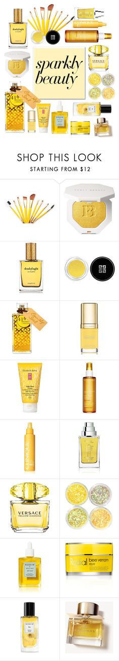 """#PolyPresents: Sparkly Beauty"" by your-new-bae ❤ liked on Polyvore featuring beauty, Strangelove NYC, Givenchy, 4160 Tuesdays, Dolce&Gabbana, Elizabeth Arden, Clarins, Clinique, The Different Company and Versace"