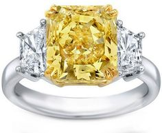 Engagement Ring - Fancy Yellow Radiant Diamond Ring Trapezoids Side stones Carat Total Weight - by Heidi-Vogel Radiant Cut Engagement Rings, Yellow Engagement Rings, Three Stone Engagement Rings, Halo Diamond Engagement Ring, Canary Diamond, Ideal Cut Diamond, Colored Diamonds, Fancy, Ceremony Seating