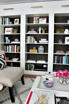 Ikea bookcases-with-grasscloth-backs