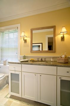 Love this color of Yellow  for a Bathroom
