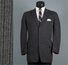 Vintage Mens Sport Coat 1960s MOD Grey Pinstripe by jauntyrooster, $110.00