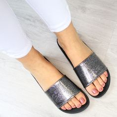 Zaxy Snap Glitter Slides / Flat Sandals - Black  Available Here for £22.95 Worldwide Shipping 100% Authentic  Photo Credit: butyraj