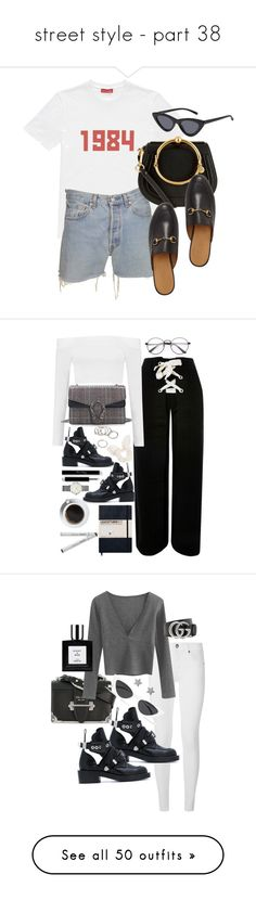 """""""street style - part 38"""" by ayusafamutiara ❤ liked on Polyvore featuring Gosha Rubchinskiy, Levi's, Chloé, Gucci, Topshop, Boohoo, Balenciaga, Dorothy Perkins, Forever 21 and ROSEFIELD"""