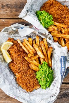 These fish and chips may be baked instead of fried, but they've still got all the flavour and crunch of the fried version.