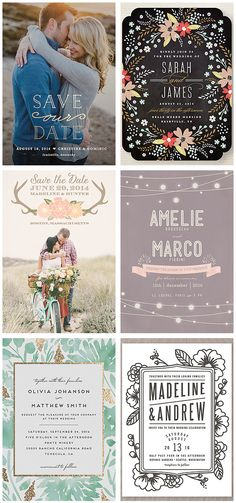 Gorgeous stationery designs, including save the dates, shower invites, wedding invitation suites, etc. #wedding