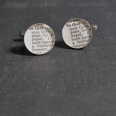 Father Dictionary Sterling Silver Round Cufflinks.. $50.00, via Etsy.