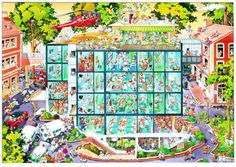 Emergency Room is a 1000 piece jigsaw puzzle by Heye Puzzles featuring a cartoon depiction of a hospital by artist Jean-Jacques Loup. Caricatures, Emergency Room, Cartoon Puzzle, Best Jigsaw, Wheres Waldo, Art Education, Modern Art, Jigsaw Puzzles, City Photo
