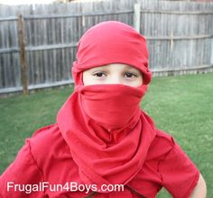 "Turn a T-Shirt into a ""no sew"" Ninja Mask"