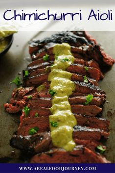 Chimichurri Aioli Recipe. The perfect sauce to serve with beef! Learn how to make chimichurri aioli by clicking!