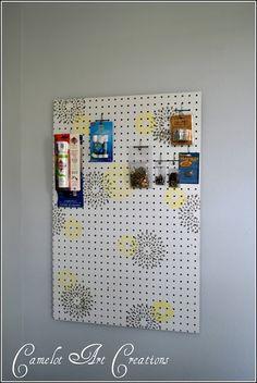 peg board makeover-love idea of adding pattern