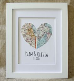 """Spotlight the hometowns of the bride and groom with this framed map art. Or, pay homage to the cities where they met and got married. The geography, text, matting, and framing are customizable. $75 for framed version, Bliss Bridal Gifts on Etsy; Coupon code: Use """"ThanksGH"""" for 10 percent off by Aug. 31, 2013."""