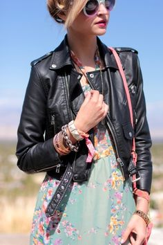 I love to mix floral and leather.