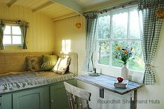 shepard hut interior/ Love the table that folds down. Tyni House, Tiny House Living, Small Living, Home And Living, Living Area, Small Cottage Homes, Shepherds Hut, Woman Cave, Tiny House Movement