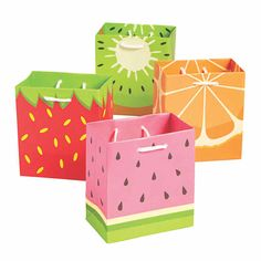 If you're planning a Tutti Frutti birthday party theme, these gift bags make great favor bag options! Each bag features an assorted fruit design, . Watermelon Birthday Parties, Fruit Birthday, Fruit Party, Luau Party, 2nd Birthday Party For Girl, Birthday Party Favors, Birthday Ideas, Birthday Gifts, Tutti Fruity Party