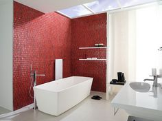 Glossy red tiles for the contemporary bathroom [Design: Famosa - The Surface Studio] Bathroom Color Schemes, Bathroom Paint Colors, Modern Luxury Bathroom, Beautiful Bathrooms, Luxury Bathrooms, Modern Bathrooms, Bath Design, Tile Design, Red Design