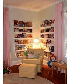 Do this with the curtains to hide the books