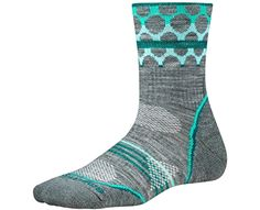 Smartwool Womens PhD #Outdoor Light Patterned Mid Crew Socks (Light Gray) Medium Made by #SmartWool Color #Light Gray. Strategically #placed mesh ventilation zones provide ventilation for temperature and moisture management. Flat knit durable toe seam. Sock Height: Mid Crew - 5.5'' overall height. Knit in USA of Imported Yarn. Style: SW0SW221