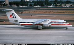American Airlines British Aerospace BAe-146-200A N699AA taxiing out for a 19R departure at Orange County-John Wayne, August 1990. (Photo: Frank C. Duarte Jr.)