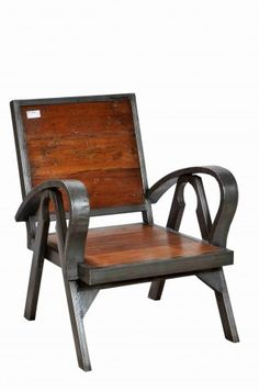 Stylish Industrial chair using Reclaimed Teak & Iron. Great for patios! Metal Furniture, Outdoor Furniture, Industrial Chair, Bistro Chairs, Antique Market, Outdoor Chairs, Outdoor Decor, Cafe Design, Teak