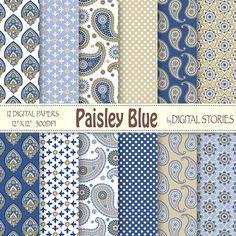 Paisley Digital Papers PAISLEY BLUE Scrapbook by DigitalStories, €2.60
