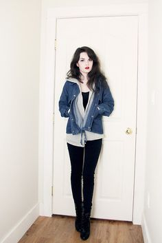Sheinside Denim Jacket/Hoodie, Suzy Shier Sleeveless Top, Urban Behaviour Black Jeans, Payless Lace Up Boots