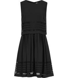 Womens Black Laser-cut Dress - Reiss Lucia
