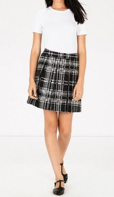 3895e84ccf7 WAREHOUSE Black White Check Pleated Skirt BNWT  fashion  clothing  shoes   accessories