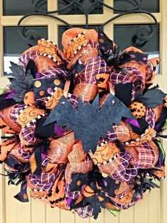 Halloween Wreath Happy Halloween Wreath Deco Mesh by BlondeMoxie