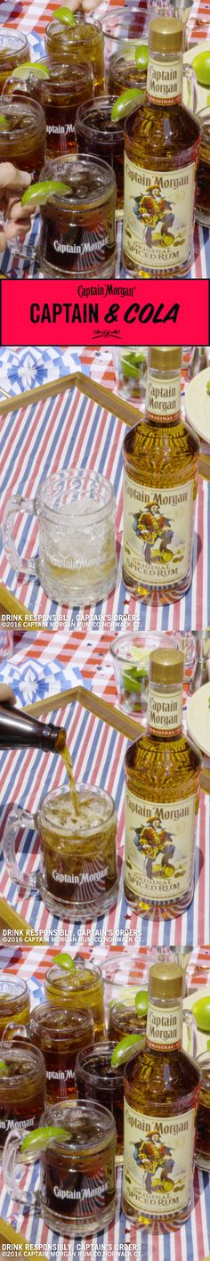 Great for small BBQ parties and BBQ parties you thought were going to be small. Recipe: oz Captain Morgan Original Spiced Rum 5 oz Cola 1 lime wedge Get more rum recipes at https:/ Holiday Drinks, Summer Drinks, Fun Drinks, Beverages, Bartender Drinks, Cocktail Drinks, Hey Bartender, Cocktails, Small Bbq