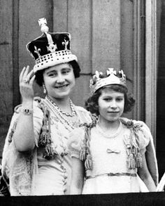 1937: Elizabeth II And Mother. Young Princess Elizabeth II (Elizabeth Alexandra Mary) (1926-living2013) UK with her mother Queen Elizabeth I (Elizabeth Angela Marguerite Bowes-Lyon) (1900-2002) UK, future Queen Mother. Both wearing shoulder tassels around their shoulders. Photograph: PA.