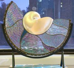 Stained Glass Pearl Nautilus Shell Cut In Half With Stand