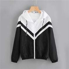 Two Tone Hooded Zip Up Jacket Women Spring Autumn Casual Color Block Clothing Female Black and White Sporty Coat Black and Whit Coats For Women, Jackets For Women, Cute Jackets, Women's Jackets, Color Blocking Outfits, Casual Outfits, Fashion Outfits, Fashion Decor, Casual Clothes