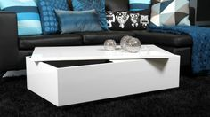 The Fina White Gloss Coffee Table is perfect for the future King and Queen. It has a hidden storage area underneath the table top - perfect for toys or electronics. You can lift the White Gloss lid to reveal a bright yellow storage area. White Gloss Coffee Table, White Round Coffee Table, Leather Coffee Table, Painted Coffee Tables, Side Coffee Table, Mid Century Coffee Table, Large Coffee Tables, Coffee Table With Storage, Coffee Table Design