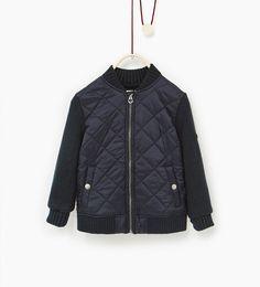 Image 1 de Blouson bomber en matières assorties de Zara