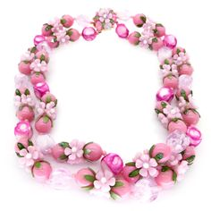 Vintage 1960s Pink Floral Lucite Cluster Bead Necklace   Clarice Jewellery