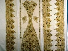 Lace | Embroidered Misc Pieces on Net Couched Gold Cord & Beetle