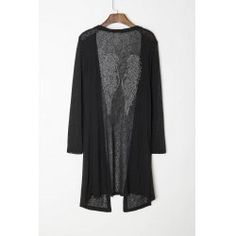 Stylish Long Sleeve Studded Wings Pattern Women's Maxi Cardigan from $14.81 by NASTYDRESS