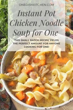 Instant Pot Chicken Noodle Soup - this small batch recipe yields the perfect amount for anyone cooking for one. The soup is made with one chicken breast or thigh and can be ready in minutes. Full of flavor, hearty, and so comforting. Instant Pot Chicken Noodle Soup Recipe, Chicken Soup Recipes, Curried Butternut Squash Soup, Large Slow Cooker, Single Serving Recipes, Complete Recipe, Cooking For One, Kitchen Dishes, Slow Cooker Chicken