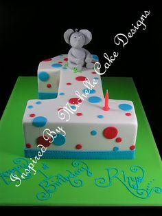 baby boys first birthday ideas   ... birthday cake first birthday fondant elephant polkd dots cake number