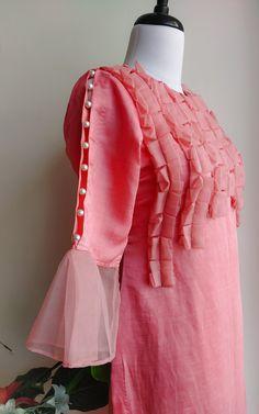Salmon Pink Linen Silk Kurta with Organza and Pearl Detail - LabelKanupriya Kurti Sleeves Design, Sleeves Designs For Dresses, Neck Designs For Suits, Kurta Neck Design, Dress Neck Designs, Sleeve Designs, Stylish Dress Designs, Stylish Dresses For Girls, Kurti Designs Party Wear