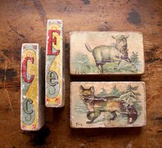 Vintage Childrens Wood Blocks with Animals  Set of by CopperAndTin, $34.00