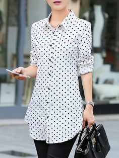Polka Dot Curved Hem Turn Down Collar Blouse Top Trendy Tops, Casual Tops, Modest Fashion, Fashion Dresses, Fashion Clothes, Cheap Fashion, Sexy Dresses, Cheap Dresses, Womens Fashion