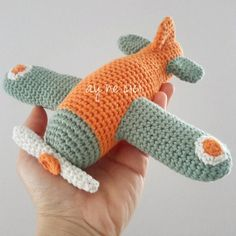 I made this airplane for an adorable little guy, although now I'm doubting if it's baby safe. Crochet Baby Toys, Crochet Patterns Amigurumi, Crochet Blanket Patterns, Crochet For Kids, Crochet Animals, Crochet Yarn, Free Crochet, Knitting Projects, Crochet Projects