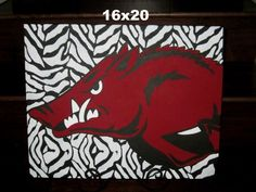 16x20 Zebra background Hog Canvas  amandabirdsong@yahoo.com