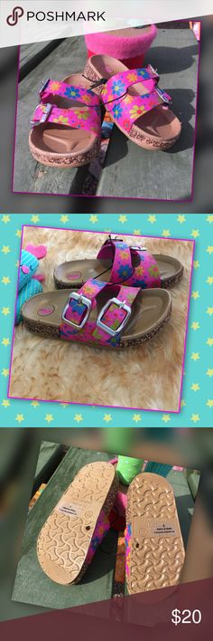 "Flower 🌺 Power Lightweight slip on sandal full of printed 🌺 flower power. Toddler size 5, company size chart insole length 6.5"" .  Comfort Sandal with molded footbed cute buckle accents so stylin ! Manmade . Shoes Sandals & Flip Flops"