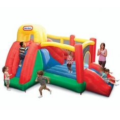 """Toys """"R"""" Us - Little Tikes - Double Fun Slide 'n Bounce Bouncer Outdoor Toys, Outdoor Play, House Slide, Inflatable Bouncers, Bouncy House, Toys R Us Canada, Little Tikes, Water Slides, Summer Kids"""