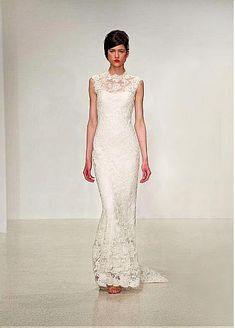 Graceful All-Over Lace & Satin Illusion High Neckline Natural Waistline Sheath Wedding Dress