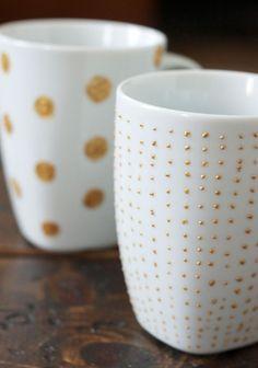 DIY Gold & White Mugs