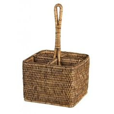 The stylish rattan deep cutlery caddy is perfect to carry utensils, napkins and even condiments to the table.Details:Colours Available: White Wash or BrownApprox: x x Cutlery Caddy, Condiment Caddy, Rattan Furniture, Utensils, Basket, Dining, Brown, Tableware, Deep