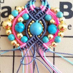 Bohemian earrings macramé Pompons and beads Fil Bleu, Micro Macramé, Long Fringes, Earring Tutorial, Turquoise, Macrame Jewelry, Fringe Earrings, Round Beads, Gemstone Beads